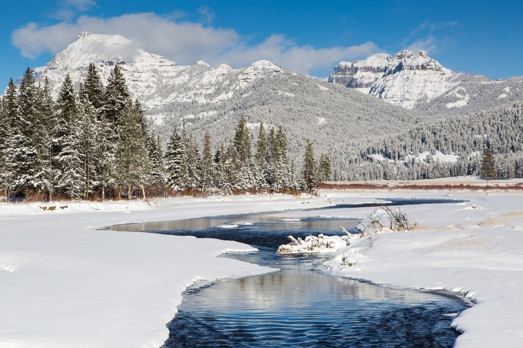 White Christmas in USA Yellowstone National Park